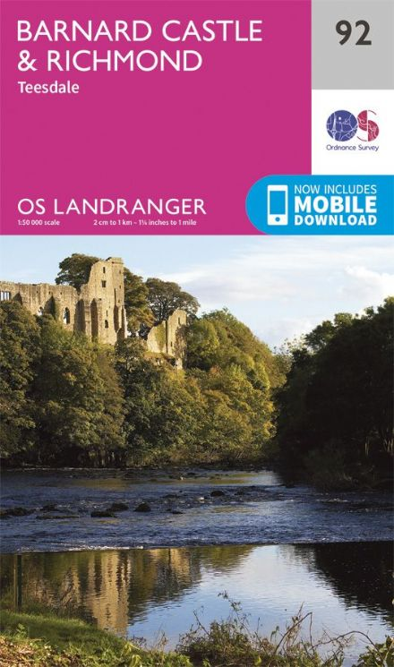 OS Landranger 92 Barnard Castle and Richmond